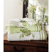 Egyptian Cotton Belvoir Bath Towels White with Green Trim