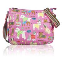 Mixed Dog Print Multi Purpose Bag Pink