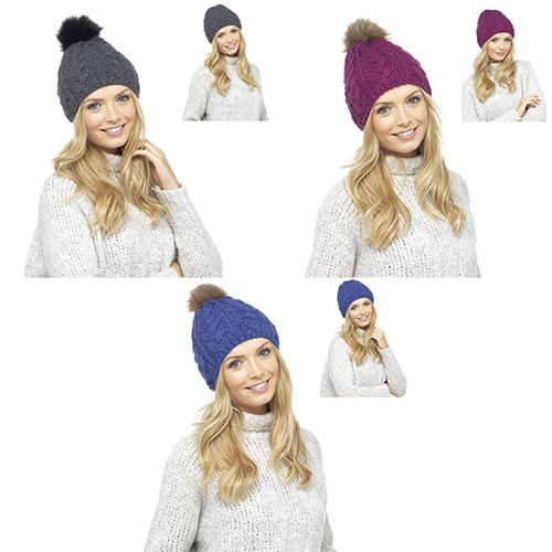 Ladies Chunky Bobble Hat With Detachable Fur Pom Pom