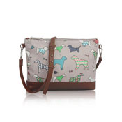 Mixed Dog Pattern Crossbody Bag Grey