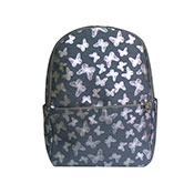 Metallic Butterfly Front Pocket Backpack Grey