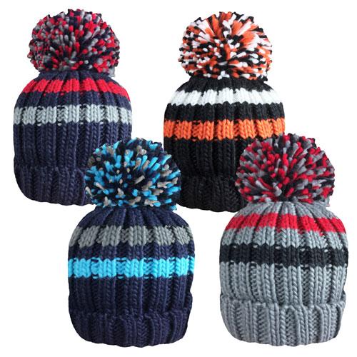 Rockjock Boys Striped Knitted Hat With Pom Pom