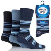 Mens Gentle Grip Socks Jack Stripe Navy