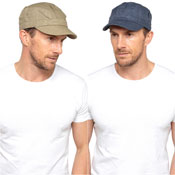 Mens Linen Army Cap Navy/Olive