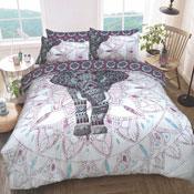 Elephant Mandala Purple Reversible Duvet Set