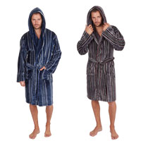 Mens Stripe Hooded Flannel Gown