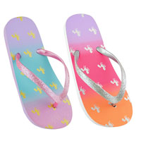 Girls Ombre Unicorn Print Flip Flops