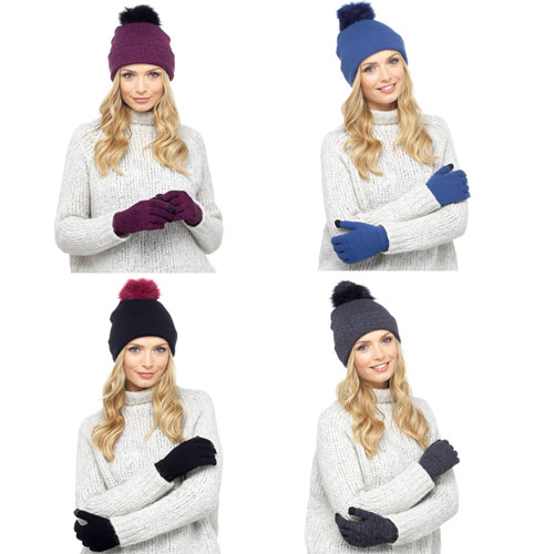 Ladies Knitted Pom Pom Bobble Hat With Gloves Set