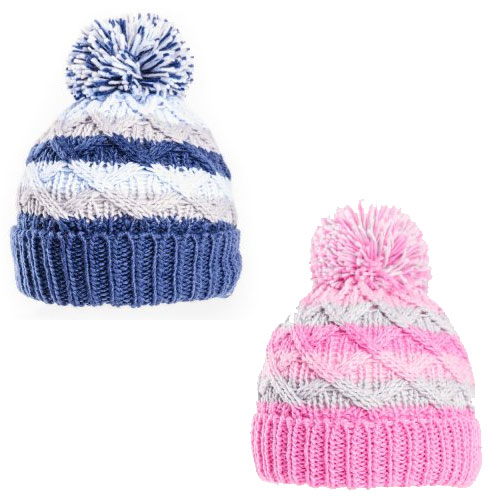 Baby Stripe Cable Knit Bobble Hat