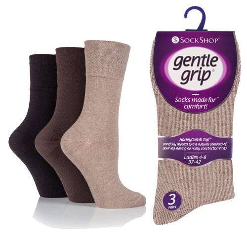 Ladies Gentle Grip Socks Dark Brown