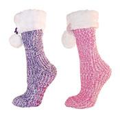 Ladies Chenille Slipper Gripper Socks With Faux Fur Trim