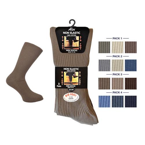 Mens Big Foot Non Elastic Socks