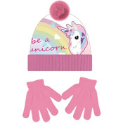 Unicorn Childrens Bobble Hat & Gloves Set