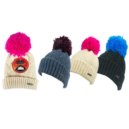 Ladies Heat Machine Pom Pom Hat Chevron Knit