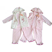 Baby Girl Flowers Jacket, Tshirt and Trousers Set