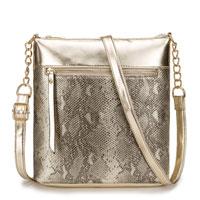 Luxury Faux Snake Skin Cross Body Bag Gold