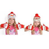 Kids Christmas Soft Knit Bobble Hat & Mitten Set