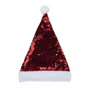 Luxury Sequin Red/Silver Santa Hat