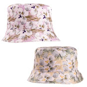 Ladies Flower Print Bush Hat Pink/Yellow