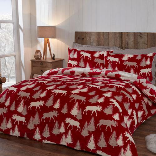 Comfy Fleece Winter Moose Design Duvet Set