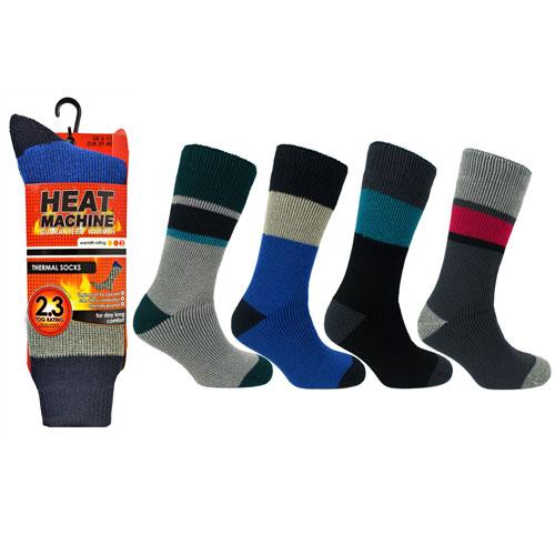 Mens Heat Machine Thermal Socks Bold Stripes 2.3 Tog