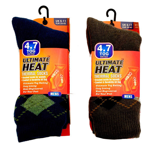 Mens Ultimate Heat Thermal Socks Argyle