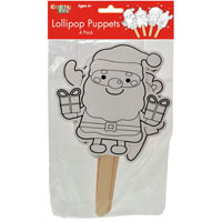 Christmas Lollipop Colour your Own Puppets
