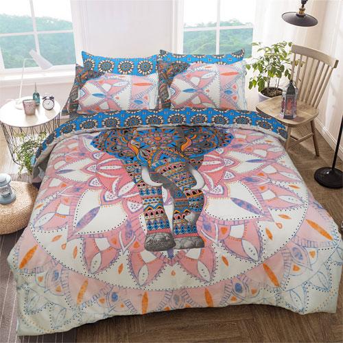 Elephant Mandala Pink/Blue Reversible Duvet Set