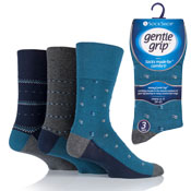 Mens Gentle Grip Socks Edward Multi Pattern Grey Blue