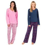 Ladies Fleece Pyjama Set Navy/Pink
