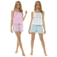 Ladies Jersey Cami Top And Woven Check Shorts