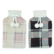 Plush Check Print Hot Water Bottles