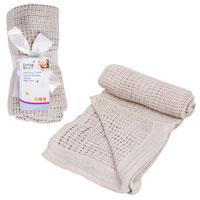 Soft Pure Cotton Cellular Blanket Grey