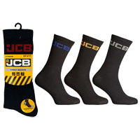 JCB 4 Pack Mens Crew Socks Black