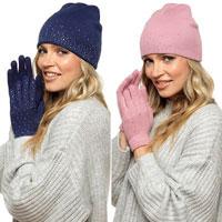 Ladies Hat & Glove Set Diamante
