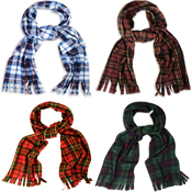 Assorted Checkered Fleece Scarves