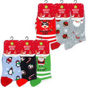 Ladies Novelty Christmas Design Socks