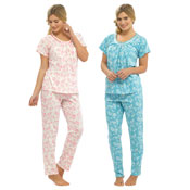 Ladies Floral Print Jersey Pyjama Set