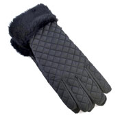 Ladies Padded Gloves With Fur Trim