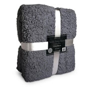 Supersoft Snug Teddy Throw Dark Grey