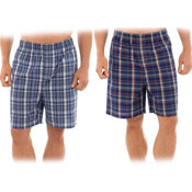 Mens Woven Check Twin Pack Lounge Shorts