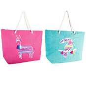 Toucan And Llama Paper Straw Bag With Rope Handle