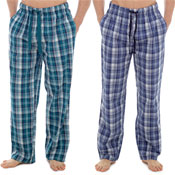 Mens Printed Check Lounge Pants Teal/Blue