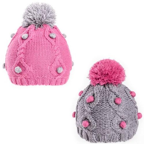 Girls Soft Knit Pom Pom Hat With Bobble Detail