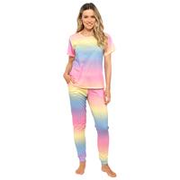 Ladies Rainbow Jersey Pyjama Set