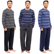 Mens Striped Jersey Long Sleeve Pyjama Set
