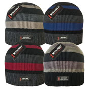 Striped Beanie Hat with Thermal Lining