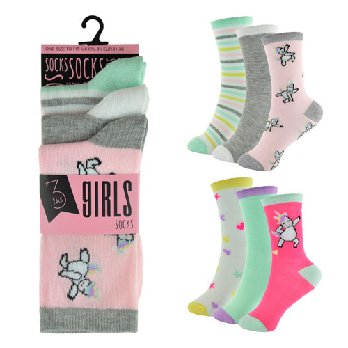 Girls 3 Pack Unicorn Design Socks