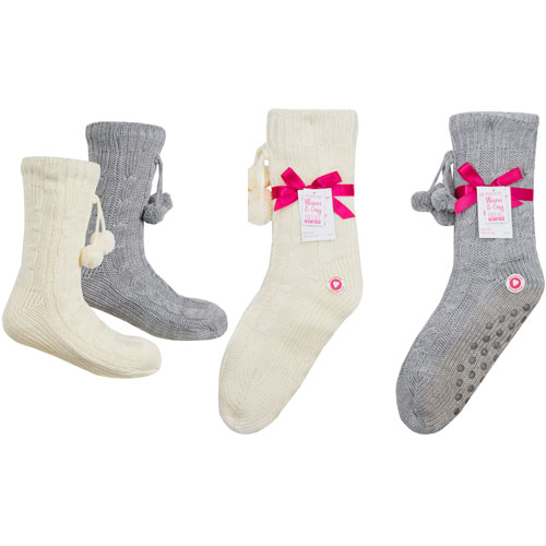 Ladies Cosy Lined Knitted Boot Socks with Grippers