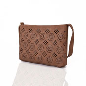Ladies Aztec Cut Out Crossbody Bag Brown